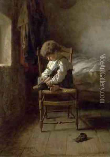 Alone Oil Painting - Theophile-Emmanuel Duverger