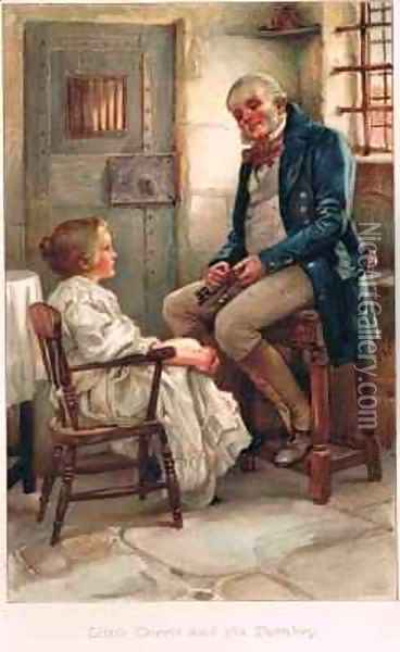 Little Dorrit and the Turnkey Oil Painting - Arthur A. Dixon