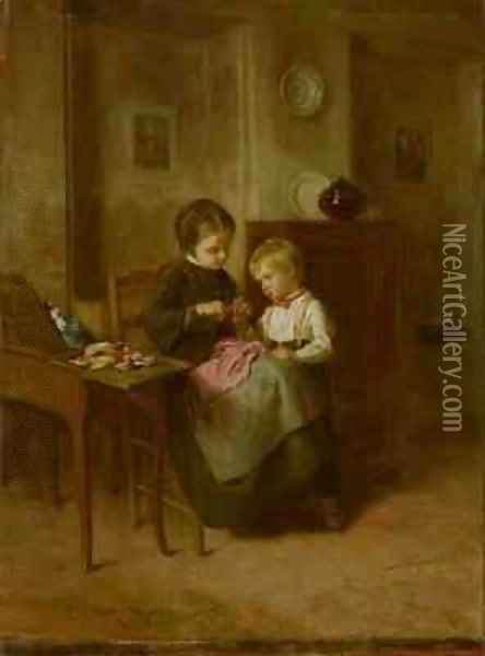 The Sewing Lesson 2 Oil Painting - Theophile-Emmanuel Duverger