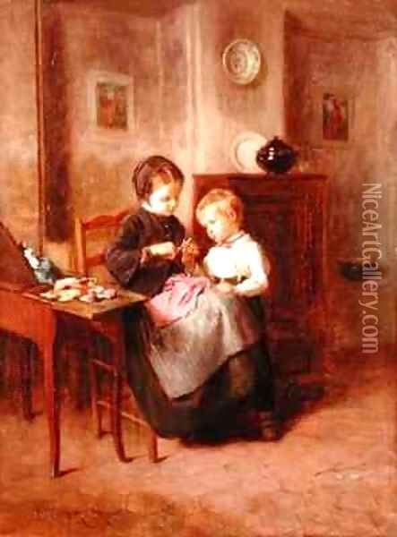 The Sewing Lesson Oil Painting - Theophile-Emmanuel Duverger