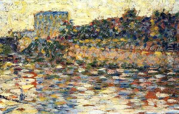 Courbevoie Landscape With Turret Oil Painting - Georges Seurat