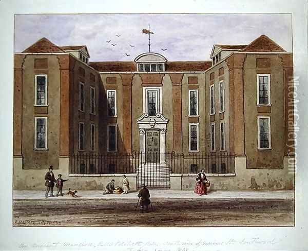 An Ancient Mansion, called Pitchett Hall, South Side of Union St., Southward, 1828 Oil Painting - Thomas Hosmer Shepherd