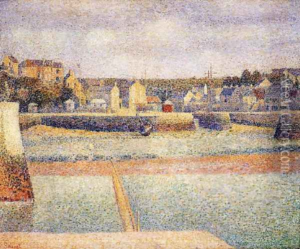 Port En Bessin The Outer Harbor Low Tide Oil Painting - Georges Seurat