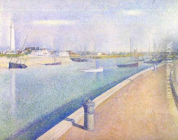 The Channel At Gravelines Petit Fort Philippe Oil Painting - Georges Seurat