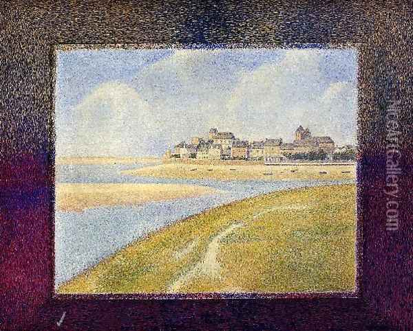Le Crotoy Upstream Oil Painting - Georges Seurat