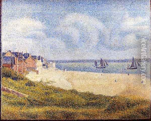 Le Crotoy Downstream Oil Painting - Georges Seurat