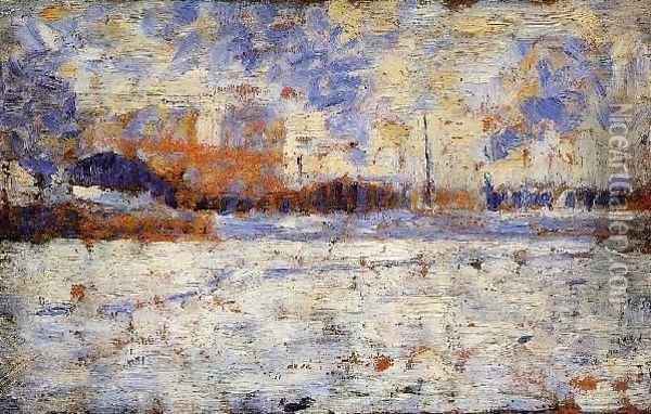 Snow Effect Winter In The Suburbs Oil Painting - Georges Seurat