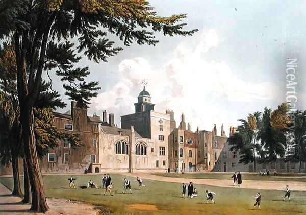 Charter House from the Play Ground, from 'History of Charter House', part of Ackermanns History of the Colleges, engraved by W. Bennett, published 1816 Oil Painting - William Westall