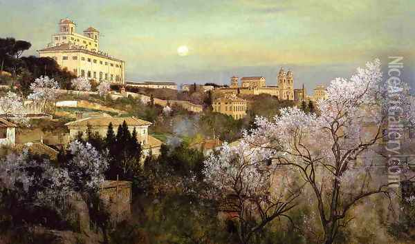 Il Pincio with a View of Villa Medici Oil Painting - Charles Caryl Coleman