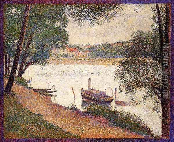 The Seine At La Grande Jatte In The Sprin Oil Painting - Georges Seurat