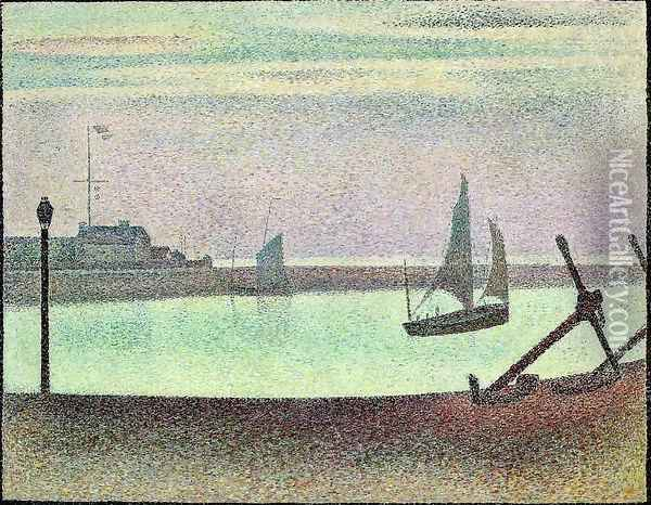 The Channel At Gravelines Evening Oil Painting - Georges Seurat