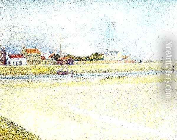 The Channel At Gravelins Grand Fort Philippe Oil Painting - Georges Seurat