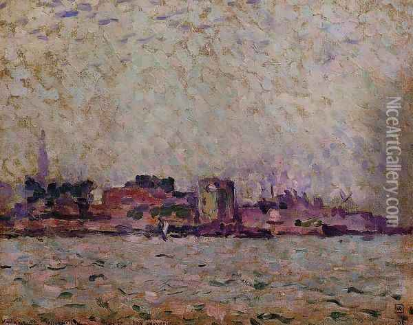 Morning Fog over the Port of Veer, Holland Oil Painting - Theo van Rysselberghe