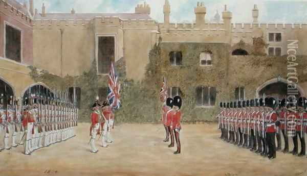 Grenadier Guards Relieving Guard at St. Jamess - The Old Guard of 1804 and the New Guard of 1904 Oil Painting - Richard Simkin