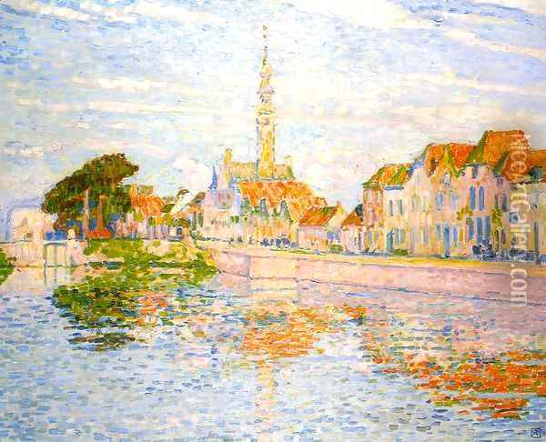 The Quay at Verre, Zeeland Oil Painting - Theo van Rysselberghe