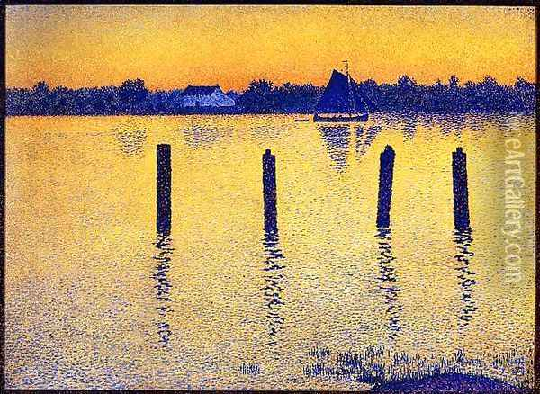 Sailboats on the River Scheldt Oil Painting - Theo van Rysselberghe
