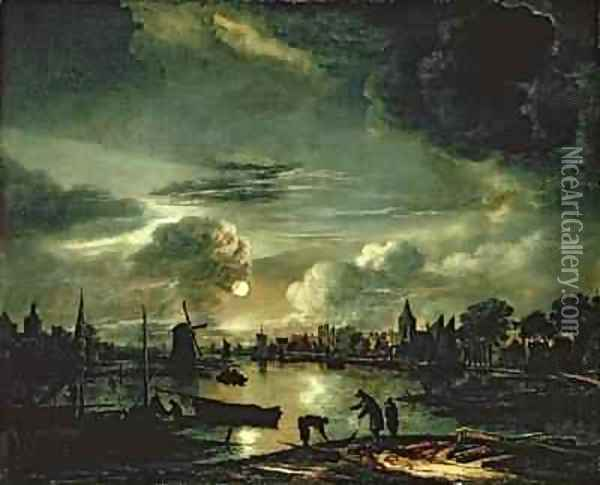 Canal Scene by Moonlight 1645-50 Oil Painting - Aert van der Neer