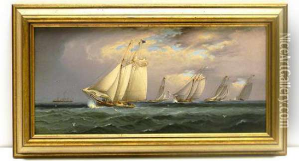 Scene Depicting A Yacht Race With Steamship In Left Background Oil Painting - James E. Buttersworth