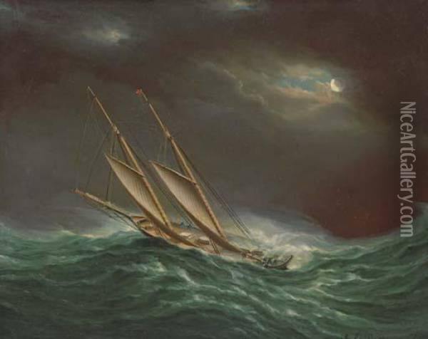 Fleetwing During The Great Ocean Race Oil Painting - James E. Buttersworth