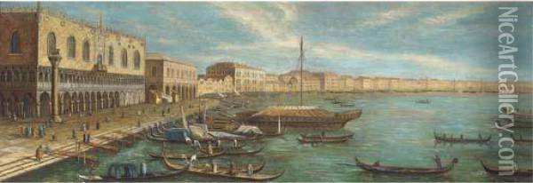 Vessels In Front Of The Doges Palace, Venice Oil Painting - (Giovanni Antonio Canal) Canaletto
