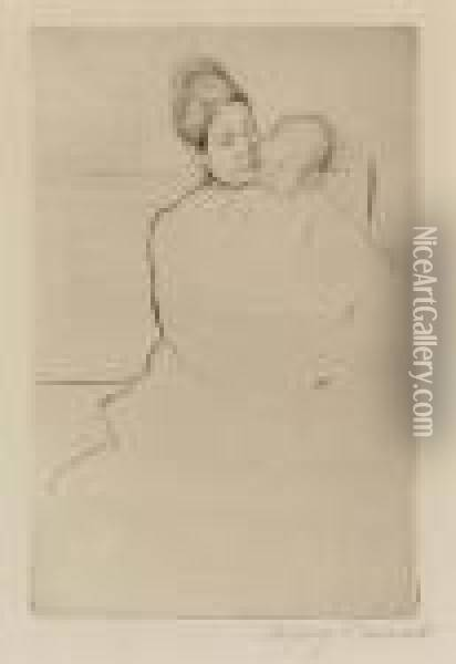 Gardner Held By His Mother (breeskin 113) Oil Painting - Mary Cassatt