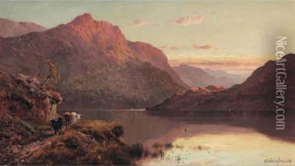 The Banks And Braes O' Bonny Doon Oil Painting - Alfred de Breanski