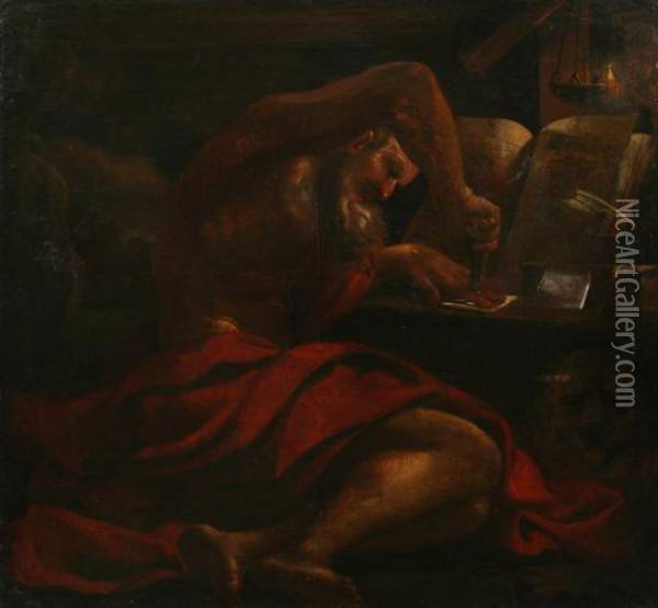 Saint Mark In His Study Oil Painting - Guercino