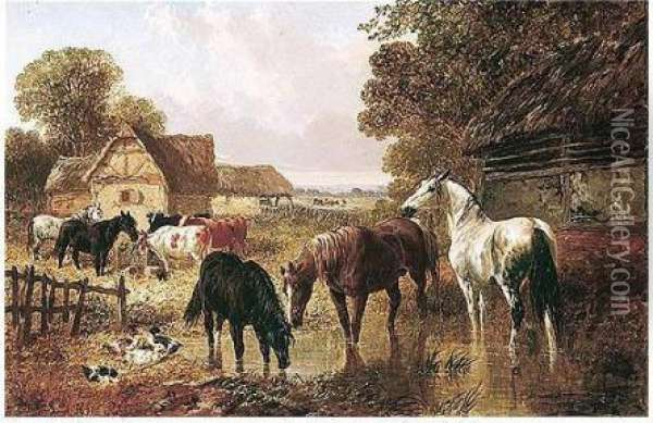 Horses And Cattle In A Farmyard Oil Painting - John Frederick Herring Snr