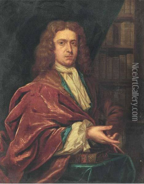 Portrait Of A Gentleman, Half-length Wearing A Long Wig And Redcoat Oil Painting - Sir Peter Lely