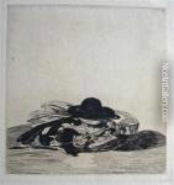 Frontispiece For An Edition Of Etchings: Hat And Guitar Oil Painting - Edouard Manet