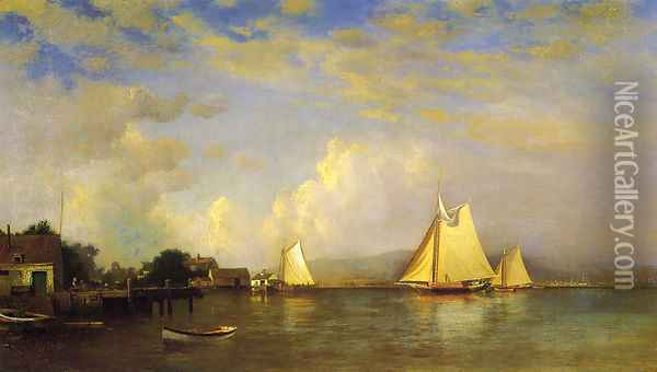 On the Hudson Oil Painting - Francis Augustus Silva