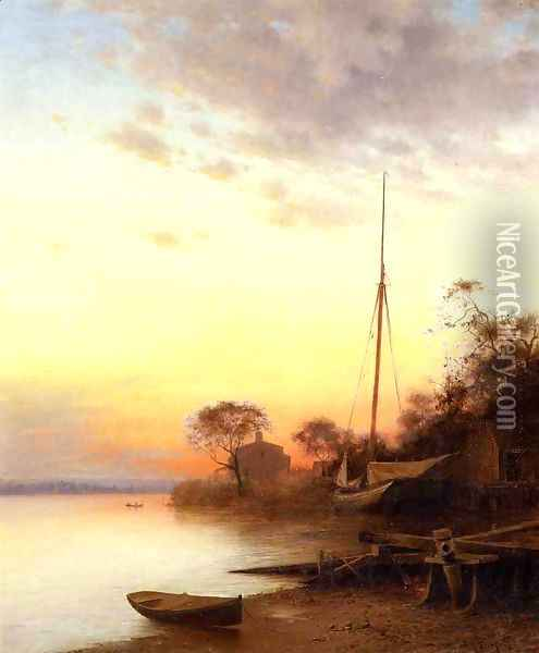 Twilight along the River Oil Painting - Francis Augustus Silva