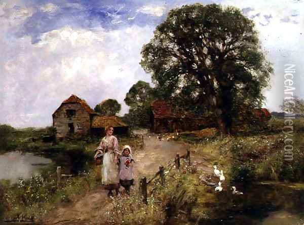 The Path by the River Oil Painting - Henry John Yeend King