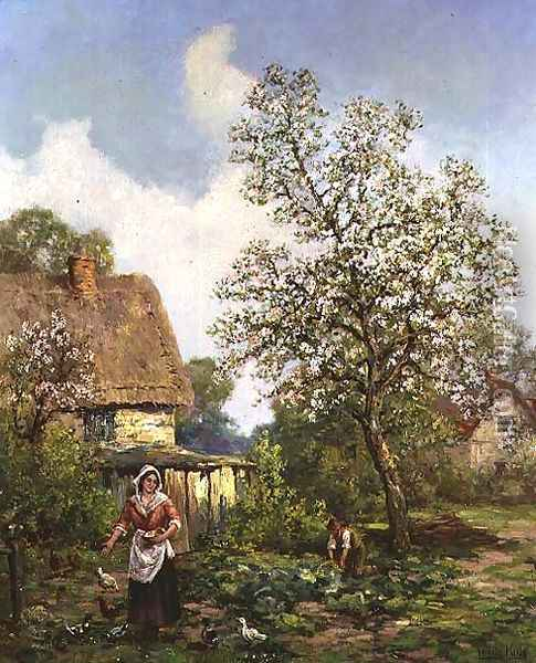 Feeding the Chickens Oil Painting - Henry John Yeend King
