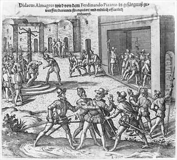 Capture, trial and execution of Diego de Almagro by order of Francisco Pizarro Oil Painting - Theodore de Bry