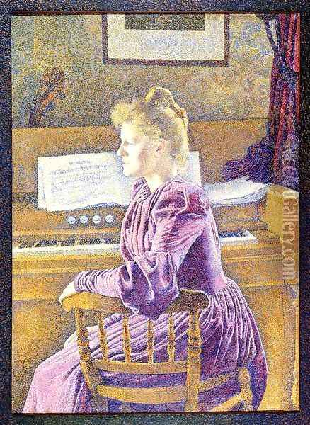 Maria Sethe at the Harmonium Oil Painting - Theo van Rysselberghe