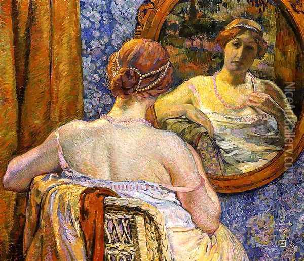 Woman at a Mirror Oil Painting - Theo van Rysselberghe