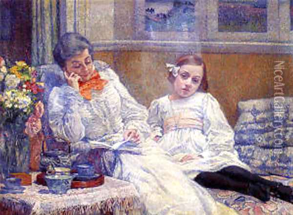 His wife Maria and daughter Elisabeth Oil Painting - Theo van Rysselberghe