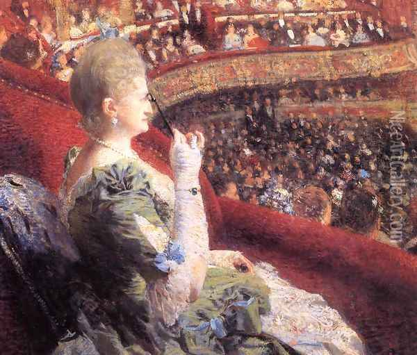Madame Edmond Picard in Her Box at Theatre de la Monnaie Oil Painting - Theo van Rysselberghe