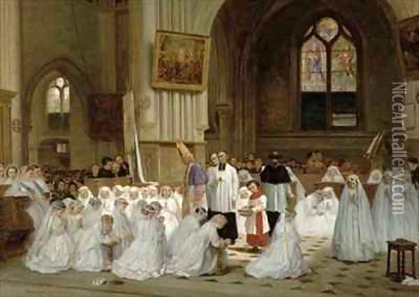 First Communion Oil Painting - Theophile-Emmanuel Duverger