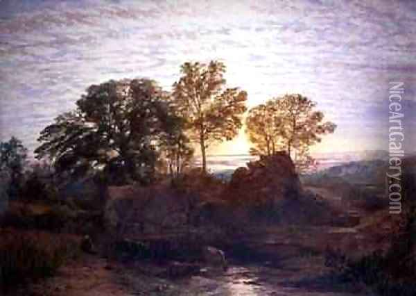 The Water Mill Oil Painting - Samuel Palmer