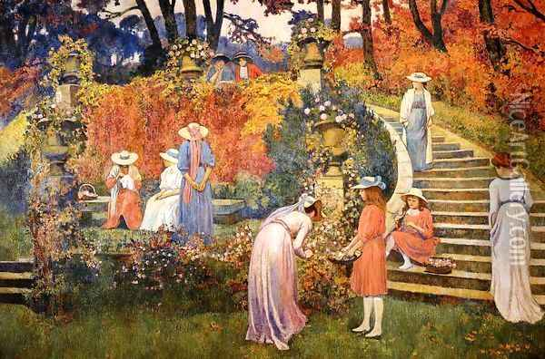 The Garden of Felicien Rops at Essone Oil Painting - Theo van Rysselberghe
