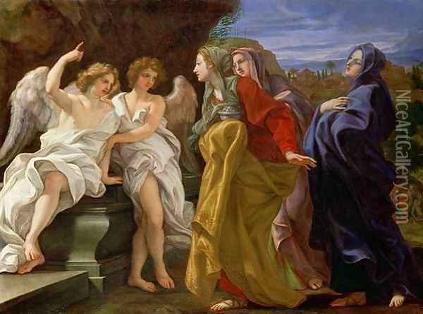 The Three Marys at the Sepulchre, c.1684-85 Oil Painting - Baciccio II