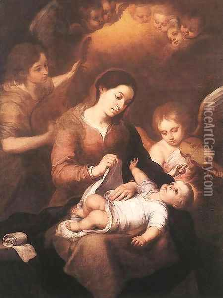 Mary and Child with Angels Playing Music 1675 Oil Painting - Bartolome Esteban Murillo