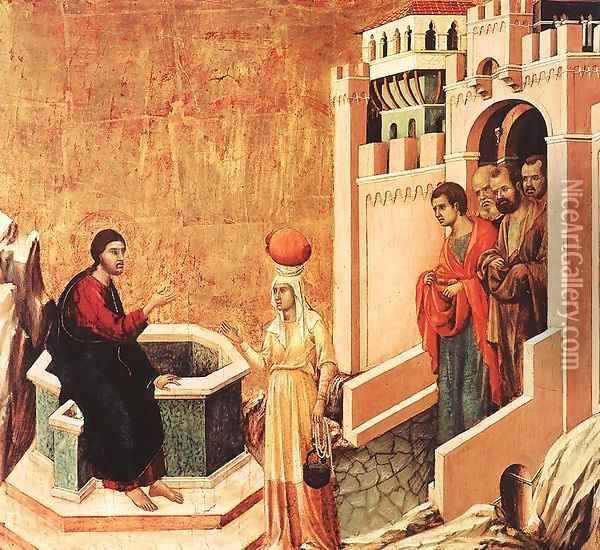 Christ and the Samaritan 1308-11 Oil Painting - Duccio Di Buoninsegna