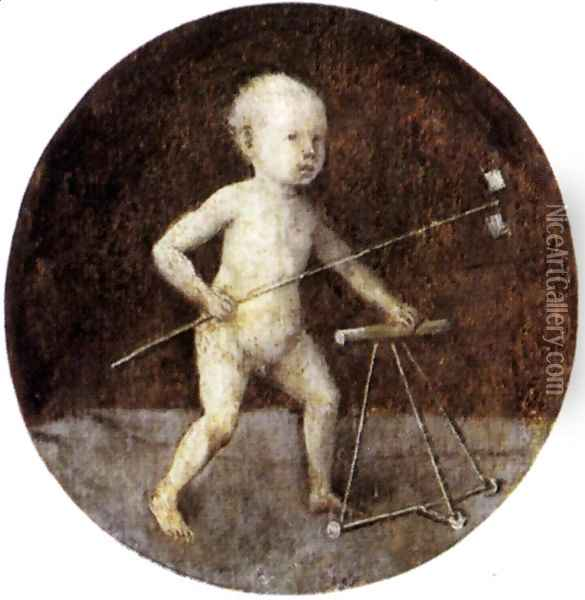 Christ Child with a Walking Frame 1480s Oil Painting - Hieronymous Bosch