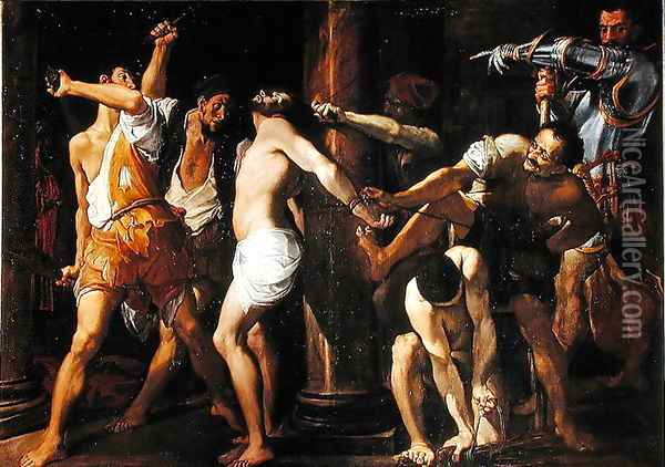 The Flagellation of Christ, 1586-87 Oil Painting - Lodovico Carracci