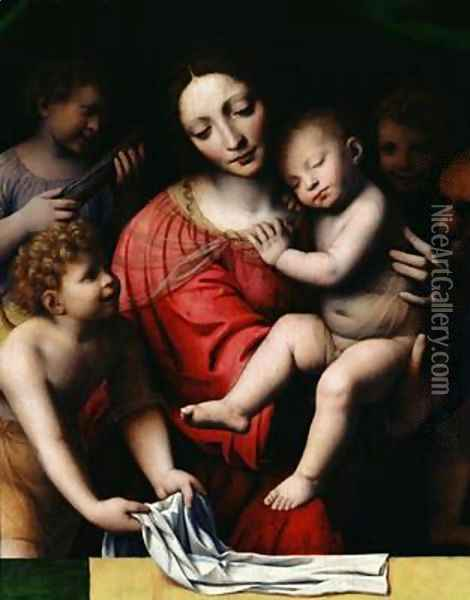 The sleeping Christ or Madonna and sleeping Child with three angels 1532 Oil Painting - Bernardino Luini