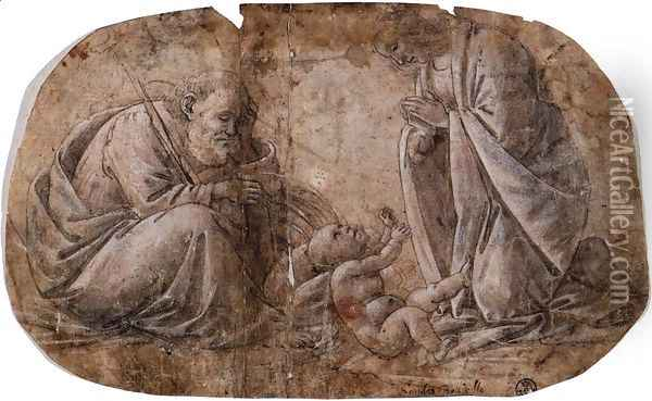 Adoration of the Child c. 1495 Oil Painting - Sandro Botticelli