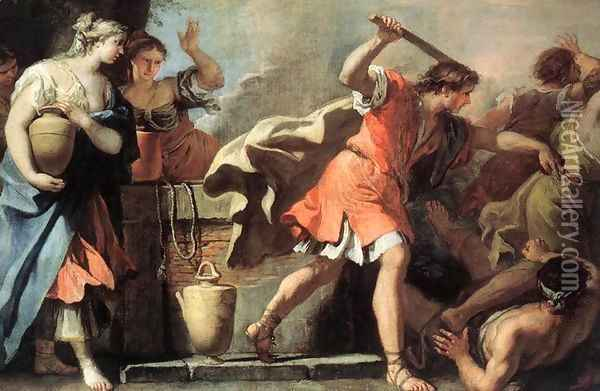 Moses Defending the Daughters of Jethro 1720s Oil Painting - Sebastiano Ricci